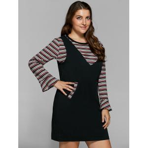 Striped Knitwear and Fitted Pinafore Dress Twinset - BLACK 5XL