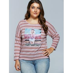Casual Cool Girl Pattern Long Sleeve Stripe T-Shirt -