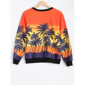 Coconut Tree Color Block Sweatshirt - COLORMIX ONE SIZE