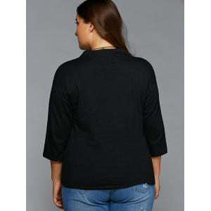 Plus Size V Neck T Shirt - BLACK 5XL