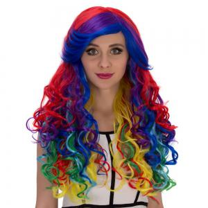 Long Side Bang Wavy Rainbow Cosplay Synthetic Wig - COLORMIX