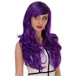 Long Side Bang Wavy Purple Gradient Cosplay Synthetic Wig -