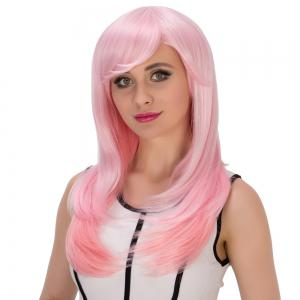Long Side Bang Layered Tail Adduction Pink Gradient Cosplay Synthetic Wig -