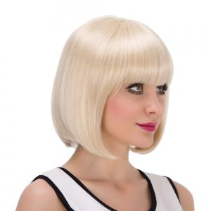 Short Neat Bang Bob Straight Synthetic Wig -