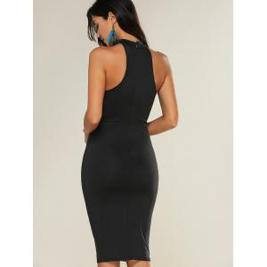 See-Through Bodycon Knee Length Dress - BLACK XL