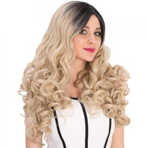 Long Colormix Side Parting Curly Synthetic Wig - COLORMIX