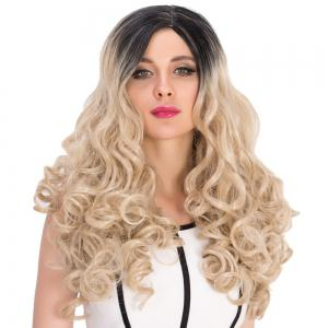 Long Colormix Side Parting Curly Synthetic Wig -