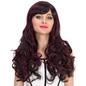Long Oblique Bang Curly Highlight Synthetic Wig -