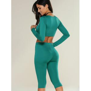 Cropped Sports Top with Shorts - GREEN XL