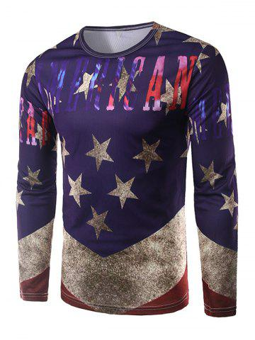 Trendy Round Neck Long Sleeves Five-Point Star Print T-Shirt PURPLE 2XL