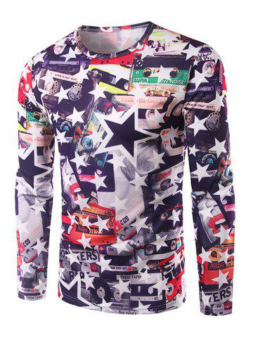 Outfits Casual Long Sleeves Stars 3D Print T-Shirt COLORMIX XL