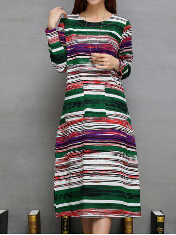 Colorful Long Striped Print Double Pockets A-Line Dress - Green - L