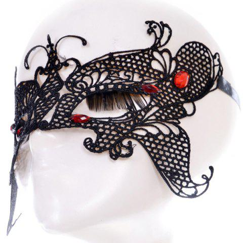 Shops Gothic Style Butterfly Faux Ruby Lace Party Mask - BLACK  Mobile