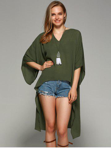Outfit Novelty Batwing Sleeve High Low Hem Blouse FLAX GREEN L