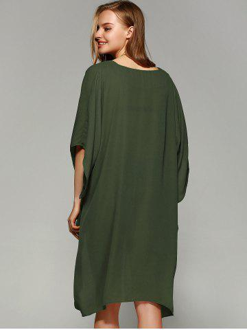 Outfits Novelty Batwing Sleeve High Low Hem Blouse - L FLAX GREEN Mobile