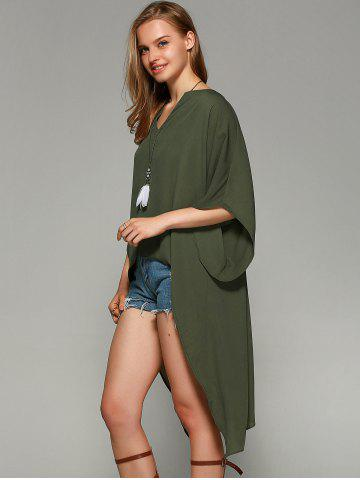 Chic Novelty Batwing Sleeve High Low Hem Blouse - L FLAX GREEN Mobile