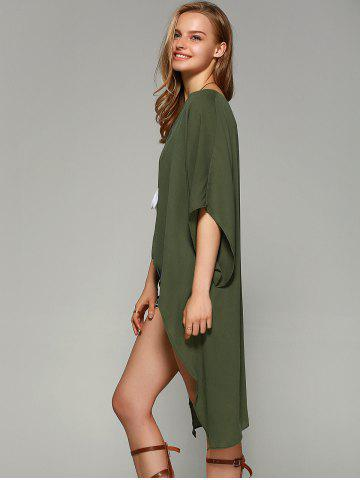 Latest Novelty Batwing Sleeve High Low Hem Blouse - L FLAX GREEN Mobile