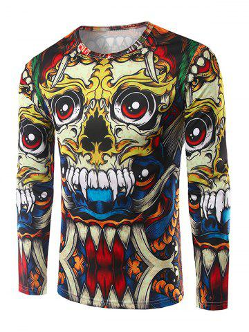 Round Neck Long Sleeves 3D Totem Print T-Shirt - Colormix - M