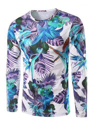 Affordable Long Sleeves Floral 3D Print T-Shirt WHITE 2XL