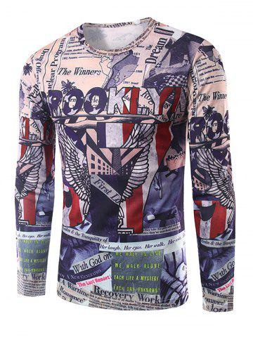 Chic Slim Fit Long Sleeves 3D Graphic Print T-Shirt