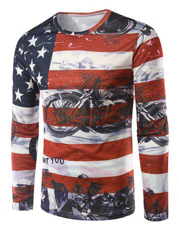 Long Sleeves Flag Pattern 3D Print T-Shirt - COLORMIX XL