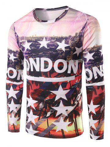 Trendy 3D City View Print Round Neck T-Shirt COLORMIX 2XL