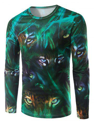 Outfits Round Neck Long Sleeve Animal Eyes 3D Print T-Shirt GREEN 2XL