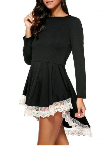 Fancy Layered Lace Splicing Dress BLACK M