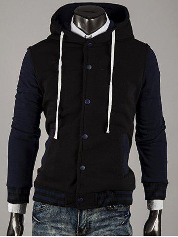 Affordable Hooded Color Block Stripe Spliced Varsity Hoodie