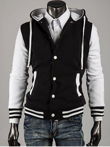 Outfits Hooded Color Block Stripe Spliced Varsity Hoodie
