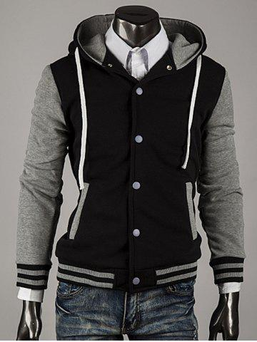 Couleur capuche Bloc Stripe Spliced ​​Varsity Hoodie