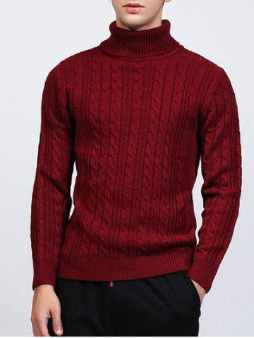 Latest Roll Neck Kink Design Long Sleeve Sweater WINE RED 2XL