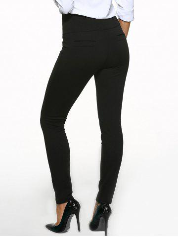 Unique High Waist Cigarette Skinny Pants - 6XL BLACK Mobile