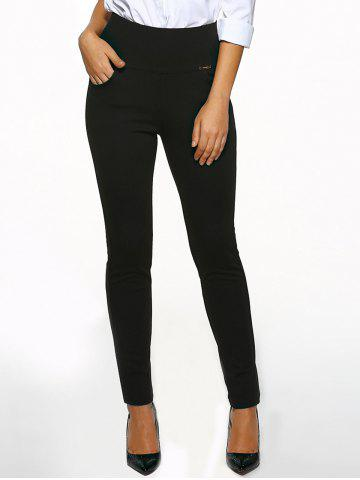 Trendy High Waist Cigarette Skinny Pants - M BLACK Mobile