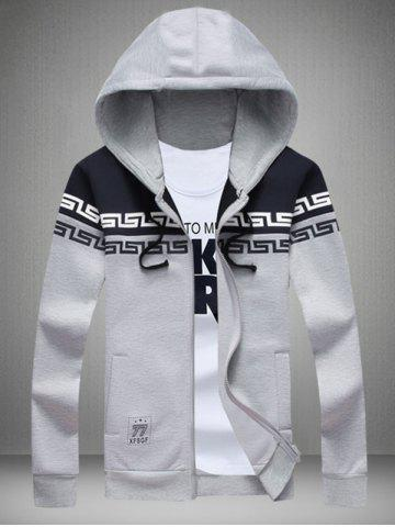 Outfit Printed Color Splicing Drawstring Zip Up Hoodie