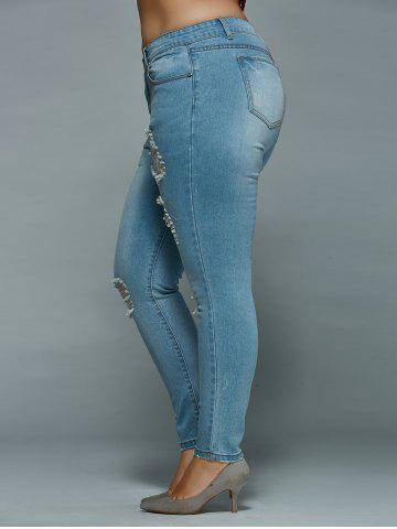 Discount Mid Waisted Skinny Plus Size Distressed Jeans - 2XL LIGHT BLUE Mobile