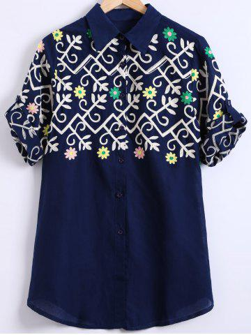 Shops Curled Sleeve Ethnic Embroidered Shirt
