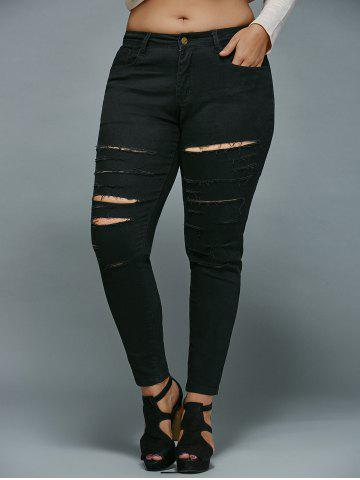 Discount Plus Size Distressed Jeans BLACK 4XL