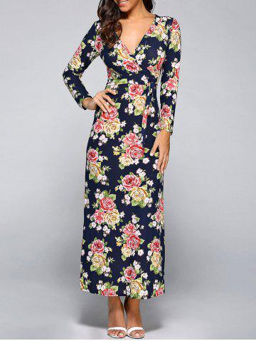 Buy Long Sleeve Plunging Neck Floral Maxi Dress CADETBLUE XL