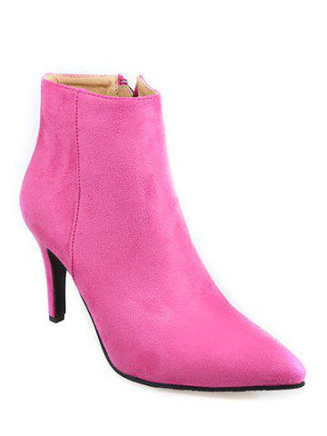 Store Stiletto Heel Flock Pointed Toe Ankle Boots