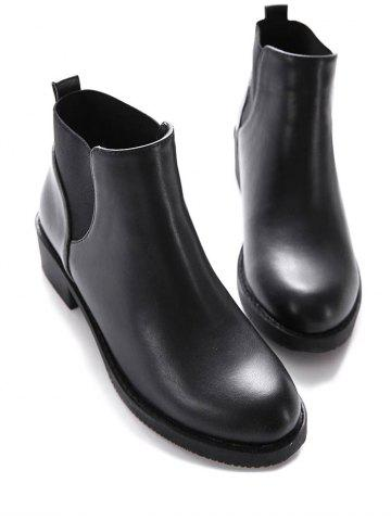 Outfits PU Leather Elastic Round Toe Ankle Boots - 37 BLACK Mobile