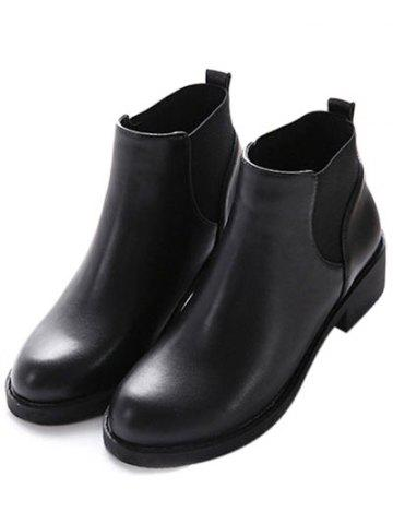 New PU Leather Elastic Round Toe Ankle Boots - 37 BLACK Mobile