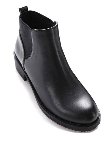 PU Leather Elastic Round Toe Ankle Boots - Black - 38