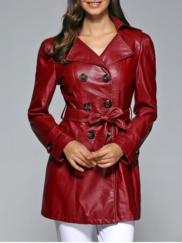 Trendy Self-Tie Button Up Faux Leather Coat WINE RED 2XL