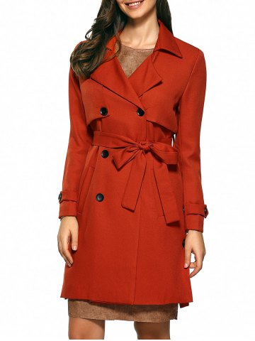 Discount Slim Double-Breasted Tied Belt Trench Coat