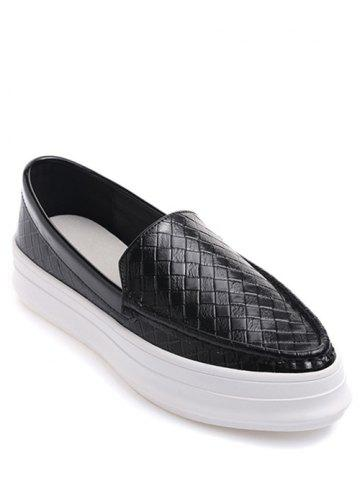 Sale Embossing Plaid Pattern PU Leather Flat Shoes
