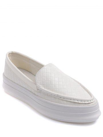 Fashion Embossing Plaid Pattern PU Leather Flat Shoes - 38 WHITE Mobile