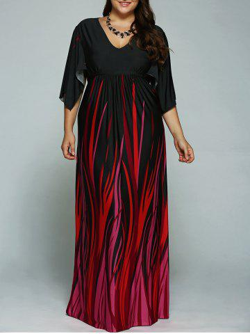 Online A Line Empire Waist Printed Plus Size Formal Maxi Dress with Batwing Sleeves BLACK 2XL