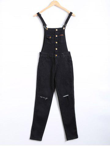 Unique Buttoned Ripped Denim Overall Pants