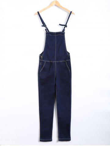 Fashion Topstitching Back Pocket Eyelet Overall Pants